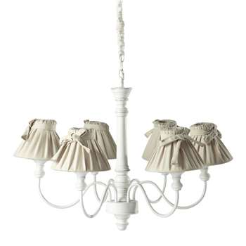 ROMANCE wood and cotton 6 branch chandelier in white D 73cm