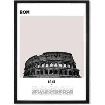 Rome Colosseum Landmark Framed Wall Art Print, Black & White (H73 x W53cm)