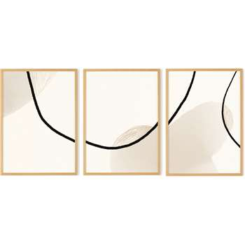 Romi Set of 3 Prints by Anna Johannson A3 Framed Wall Art Prints, Tonal Pinks (H34 x W46cm)