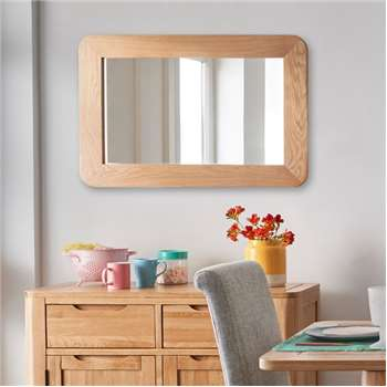 ROMSEY - Natural Solid Oak Wall Mirror (H60 x W90 x D3cm)