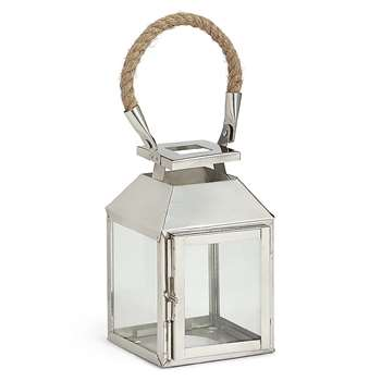 Rope Handle Metal Lantern, Silver (H18.5 x W11 x D10.5cm)