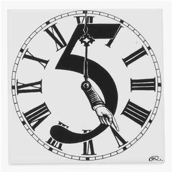Rory Dobner Clock Hands Decorative Tile, 14.8 x 14.8cm (H14.8 x W14.8 x D0.5cm)