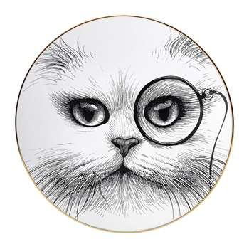 Rory Dobner - Perfect Plates - Cat with Monocle - Medium (21 x 21cm)