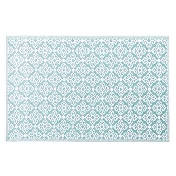 ROSACE Blue Outdoor Rug with White Graphic Print (H140 x W200cm)