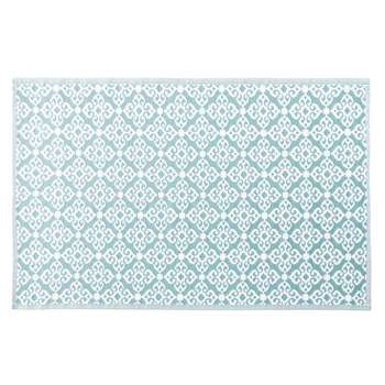 ROSACE Blue Outdoor Rug with White Graphic Print (H160 x W230cm)