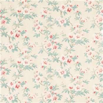 Rosamond Pale Floral Cranberry Wallpaper