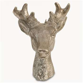 Rosanna Large Deer Head Candle in Silver Finish (14.5 x 11cm)