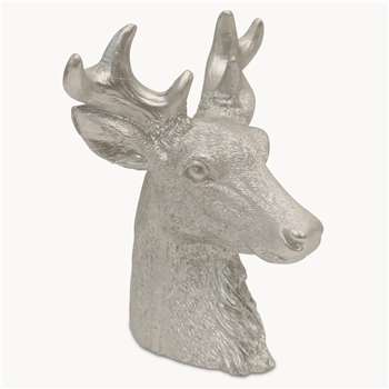 Rosanna Large Silver LED Deer Head (Height 18.5cm)