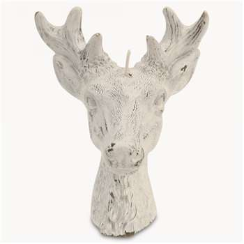 Rosanna Small Deer Head Candle in White Finish (11.5 x 7cm)