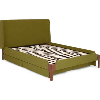 Roscoe Double Bed with Drawer Storage, Olive Green & Walnut Stain Legs (H114 x W155 x D205cm)