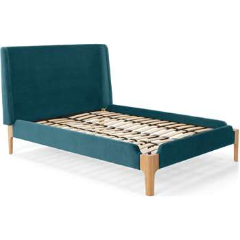 Roscoe King Size Bed, Steel Blue Velvet (H114 x W172 x D215cm)