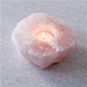 Rose Quartz Tea Light Holder (H5 x W11 x D11cm)