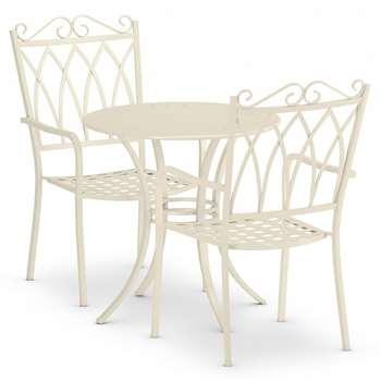 Rosedale Bistro Table & 2 Chairs Set, Cream (H70 x W70 x D70cm)