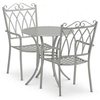 Rosedale Bistro Table & 2 Chairs Set, Grey (H70 x W70 x D70cm)