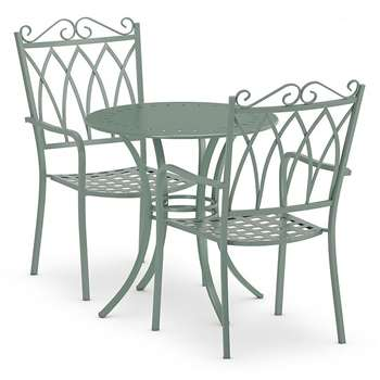 Rosedale Bistro Table & 2 Chairs Set, Sage Green (H70 x W70 x D70cm)
