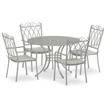 Rosedale Table & 4 Chairs, Grey (H73 x W110 x D110cm)