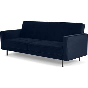 Rosslyn Click Clack Sofa Bed, Ink Blue Velvet (H82 x W210 x D84cm)