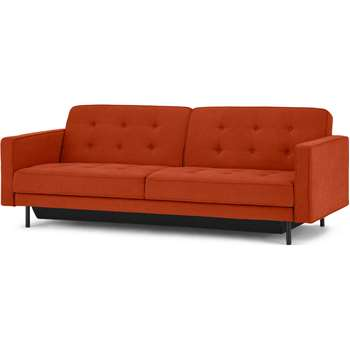 Rosslyn Click Clack Sofa Bed with Storage, Sadona Orange (H82 x W212 x D89cm)