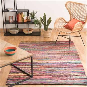 ROULOTTE cotton woven rug, multicoloured 140 x 200cm
