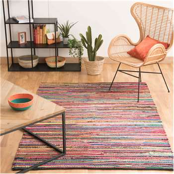 ROULOTTE cotton woven rug, multicoloured (160 x 230cm)