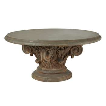 Round Acanthus Dining Table - Brown (74 x 161cm)
