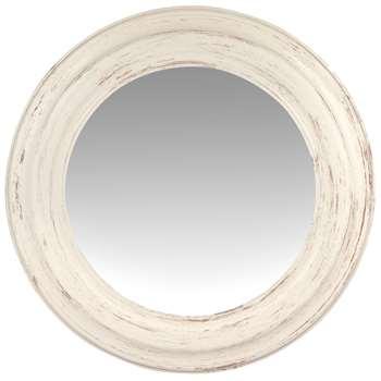 Round Aged Effect White Mirror (Diameter 75cm)