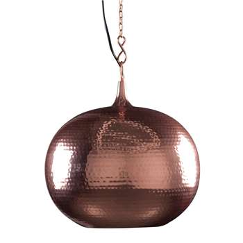 Round Ceiling Light with Metallic Hammered Surface 137 x 35cm