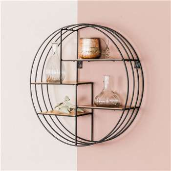 Round Copper Deco Shelf (H45 x W45 x D11cm)