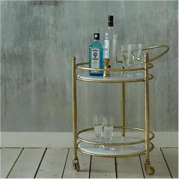 Round Drinks Trolley With Marble Shelves (H68 x W58 x D46cm)
