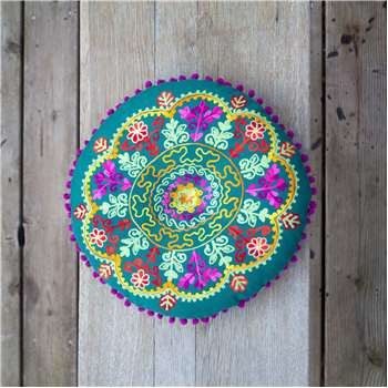 Round Green Boho Seat Cushion (Diameter 40cm)