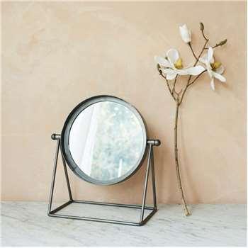 Round Industrial Table Mirror (H34 x W32 x D18cm)