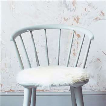Round Ivory Sheepskin Seat Pad (H37 x W37cm)