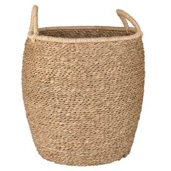 Round Ivory Wickerwork Basket (H41 x W36 x D42cm)
