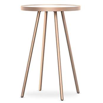 Metal & Glass Round Side Table, Copper (H54 x W38 x D38cm)