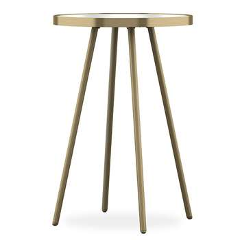 Round Metal & Glass Side Table, Gold (H54 x W38 x D38cm)
