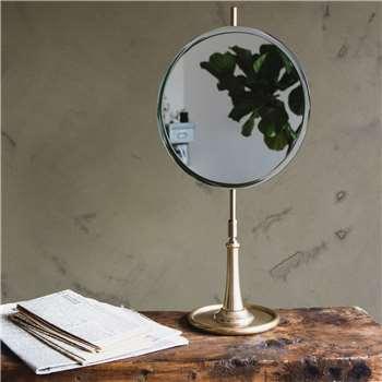 Round Mirror on Brass Stand (H52 x W25 x D15cm)
