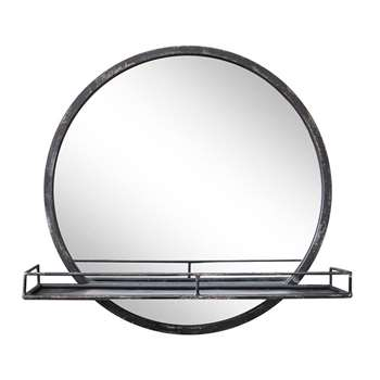 Round Mirror with Shelf (H50 x W50 x D12cm)