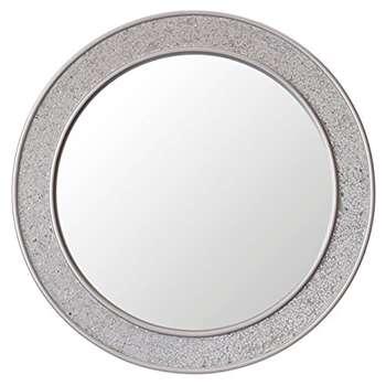 Round Mosaic Wall Mirror, Silver (Diameter 60cm)