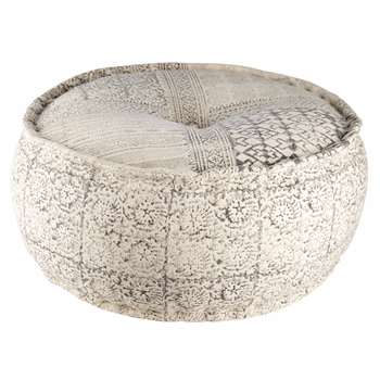 Round printed cotton pouffe RAYA (33 x 64cm)