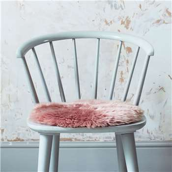 Round Rose Sheepskin Seat Pad (H37 x W37cm)