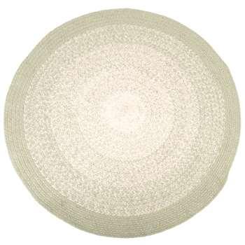 Round Sea Green and Silver Woven Cotton Rug (Diameter 90cm)