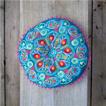 Round Teal Boho Seat Cushion (Diameter 40cm)
