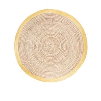 Round Woven Jute Mat with Golden Border (Diameter 180cm)