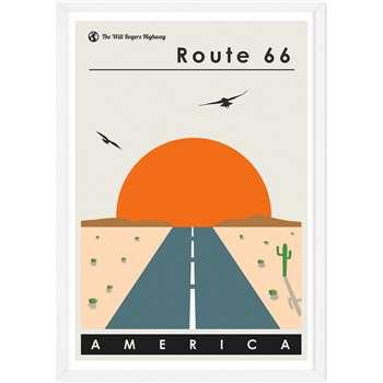 Route 66 Landscape Travel Poster Framed A1 Wall Art Print, Multi (H86 x W61 x D2cm)