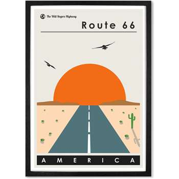Route 66 Landscape Travel Poster Framed Wall Art Print (H44 x W33 x D2cm)