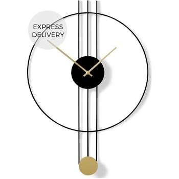 Rowell Pendulum Clock, Black & Brass (H64 x W45 x D6cm)