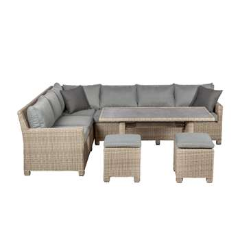 Royalcraft Wentworth Outdoor Modular Corner Dining Table and Chairs Set, Grey