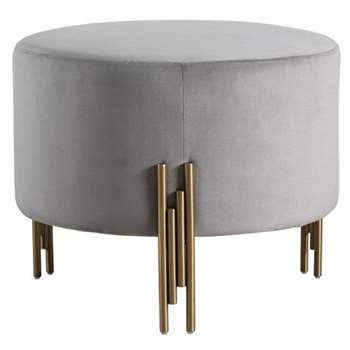 Rubell Large Stool Dove Grey Brass base (H49 x W60 x D60cm)