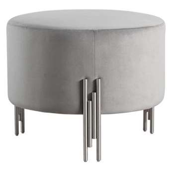 Rubell Large Stool Dove Grey Silver base (H49 x W60 x D60cm)