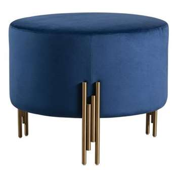 Rubell Large Stool Navy Brass base (H49 x W60 x D60cm)